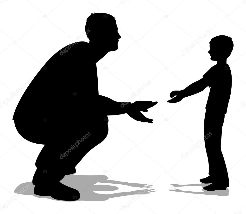 father talking with son silhouette vector stock vector 16643799