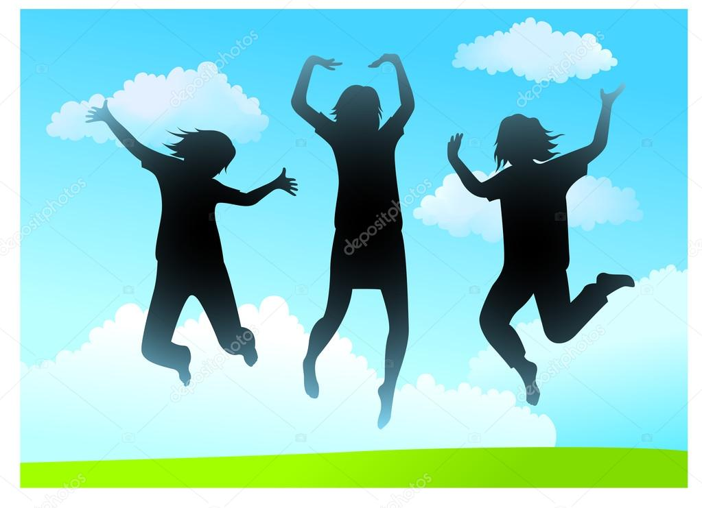Three girlfriends jump vector