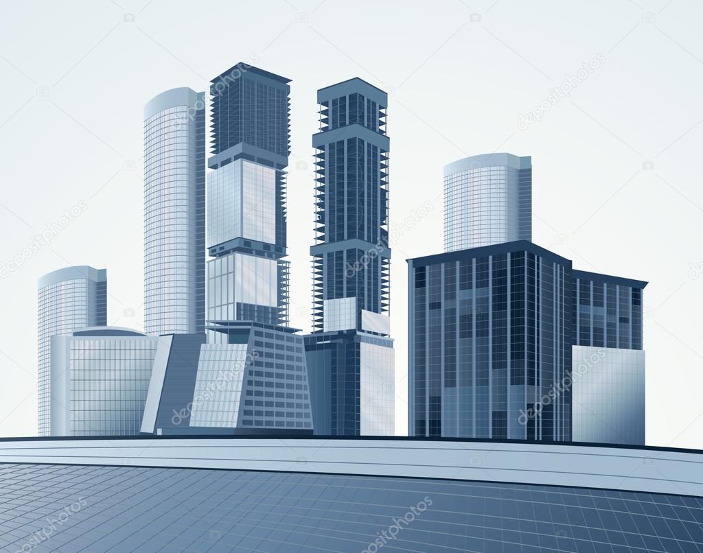 Blue skyscrapers vector