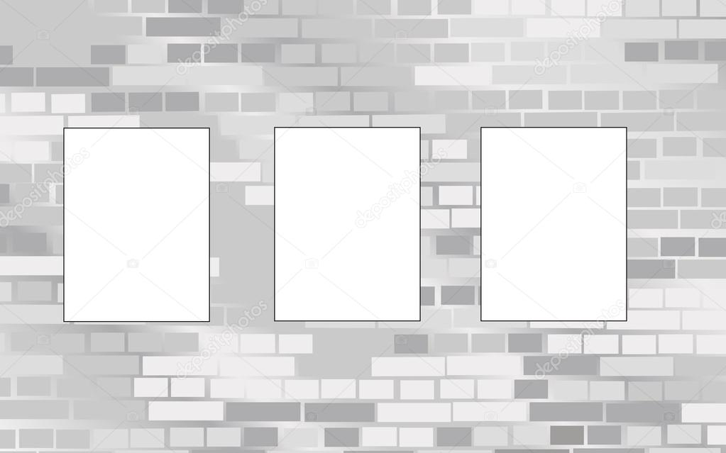 Three frames on brick wall vector — Stock Vector © Paha_L #16909435