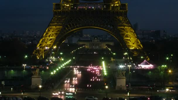 Light of a night city, night movement under Tour Eiffel.