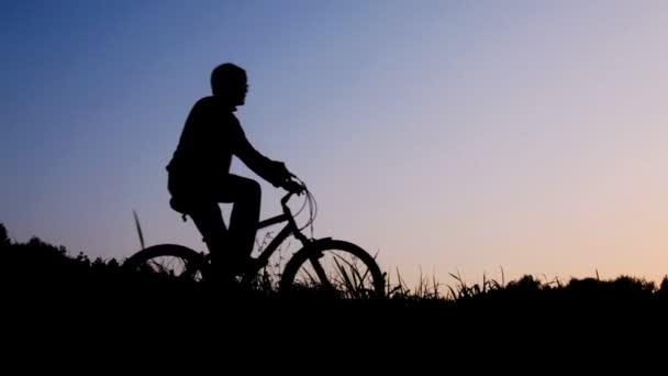 silueta muže na koni na kole zastaví proti obloze