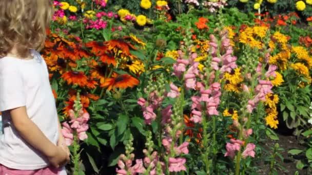 dívka jde mezi sada květin v zahradě zkoumá