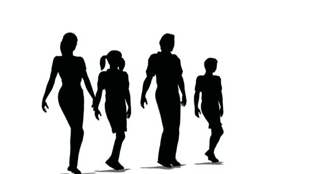 Happy family of four silhouette