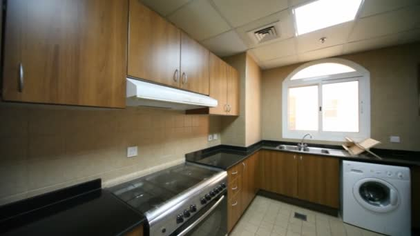 Interior of kitchen, horizontal panning