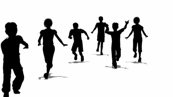 Sziluettjét. gyermekek futó.
