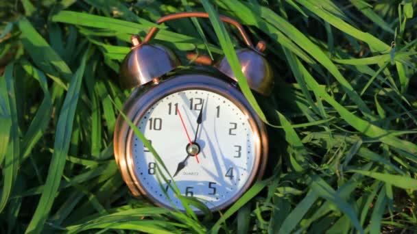 Klasszikus ébresztőóra feküdt, és cseng a fű