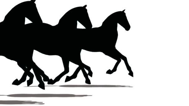 tři koně běžet, černé na bílém.