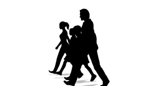 Menetelő család négy sziluett