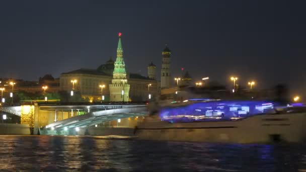 View on Kremlin, river, bridge in Moscow, Russia