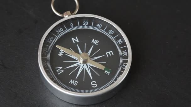 Compass rotating on black background