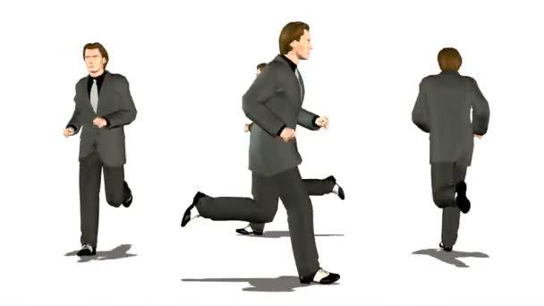 Four businessman runnig by circle