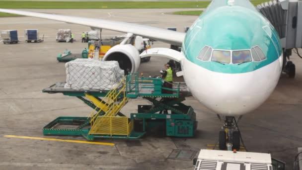 letadlo stojící na letišti je zatíženo zboží servisní pracovníky