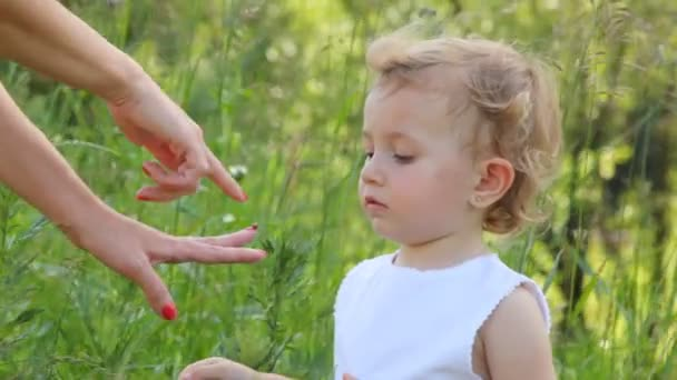 dívka se dívá na beruška, která sedí na její matka prst