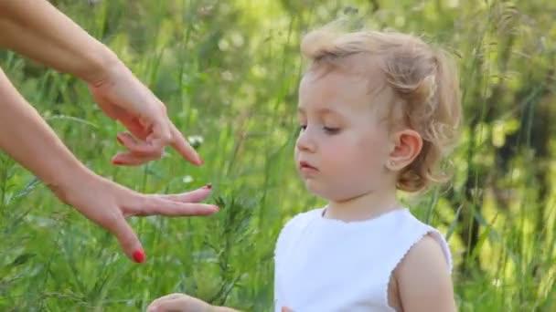 ragazza sta guardando una coccinella, che è seduto sul suo dito madre