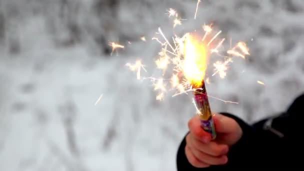 Ohňostroj oheň v ruce dětí v lese sněhu