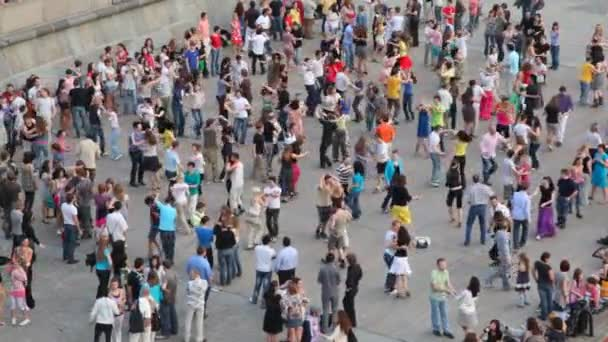 People dance on embankment of Moscow river