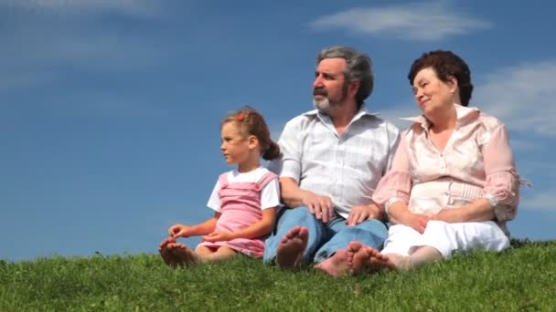 Mature couple and granddaughter sat on grass with bare feet talking