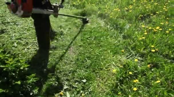 pracovník seká trávu ruční sekačka