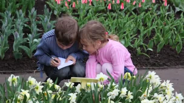 Boy and girl sit to path between flowers