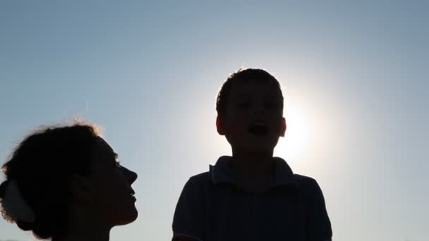 Silhouettes of woman and boy against sky