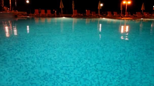 Night view of the surface of the water pool