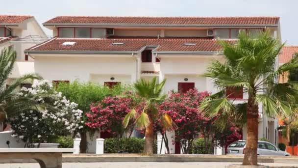 Hotel s palmami a květinami kymácí ve větru před