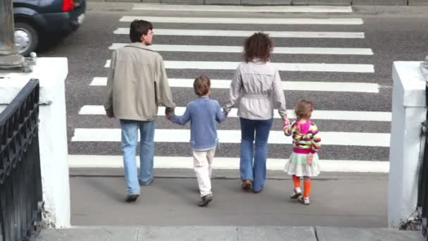 Family goes by pedestrian crossing road