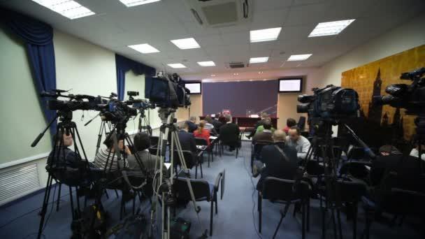 Fotografie Journalisten warten Konferenz in Pressemitteilungen