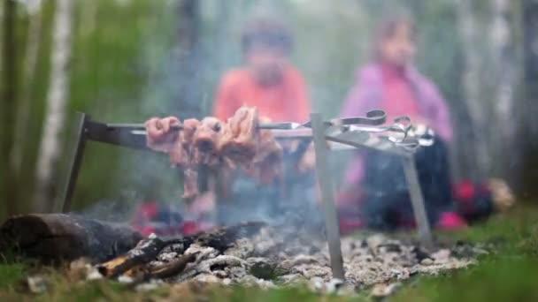 Junge und kleines Mädchen sitzen auf Baumstämmen und beobachten frisches Fleisch auf Glut