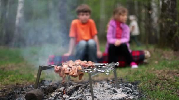 Kluk a holčička sedět na log a dívat se na čerstvé maso na uhlíky