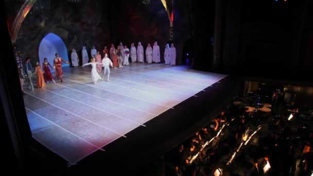 Actors of Moscow Classical Ballet Theater of N.Kasatkinoj and V.Vasilyova bow to audience in end of representation