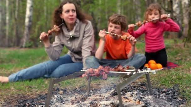 Mama und Kinder sitzen auf Gras-Decke Plaid und isst Kebab am Spieß