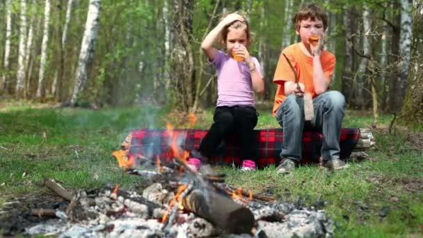 Junge und kleine Mädchen sitzen, sie trinken Saft und beobachten am Lagerfeuer