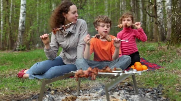 Mutter und Kinder sitzen auf einer Rasendecke neben Plaid und essen Dönerspieße