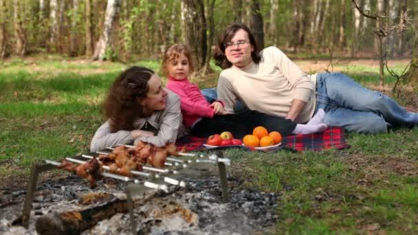 Eltern und Tochter liegen auf kariertem Gras, Teller mit Früchten liegen daneben