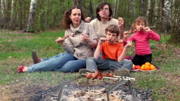 Vater, Mutter und Kinder sitzen auf einer Rasendecke neben Plaid und essen Dönerspieße