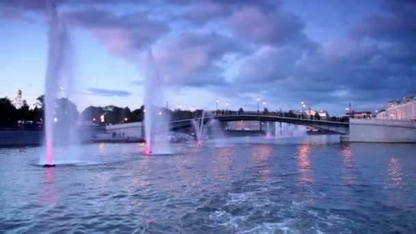 Fountains with illumination in Obvodnoy channel at evening in Moscow