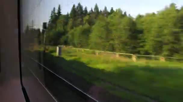 rychlý vlak, pohled z okna, časová prodleva