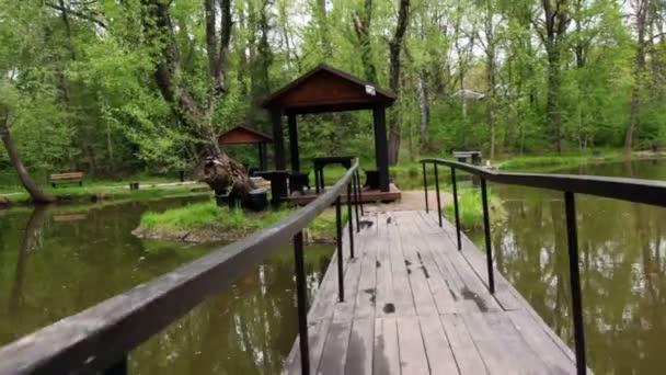 most do letního domu na malém ostrově na rybníku v háji