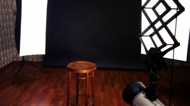 Professional equipment in small photo studio