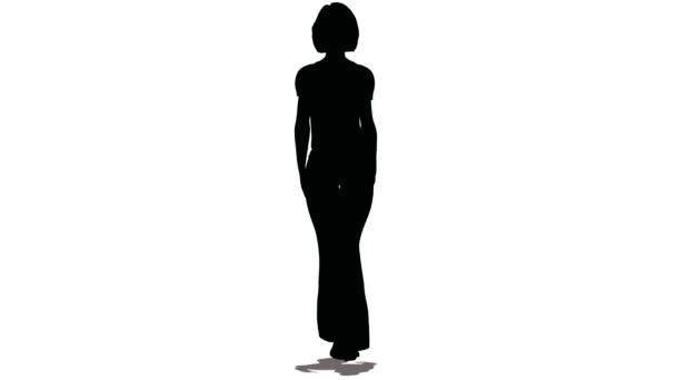 silueta ženy-model černé barvy jdou na bílém pozadí
