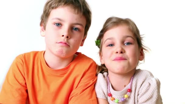 Two kids boy and girl smile