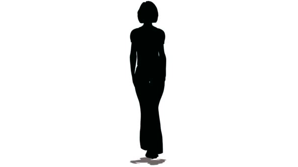 silhouette di donna-modello di colore nero Vai su bianco