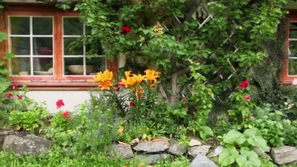 norvég Tájház növények között entwined falak