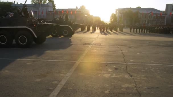 Military vehicles take part in military parade