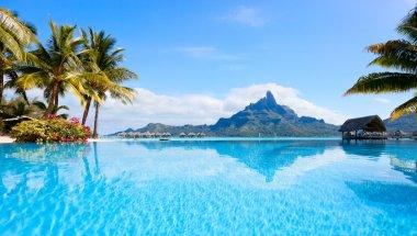 Beautiful view of Otemanu mountain on Bora Bora island stock vector