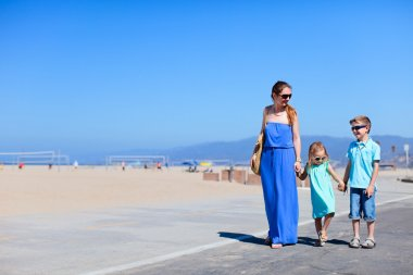 Family at Santa Monica beach