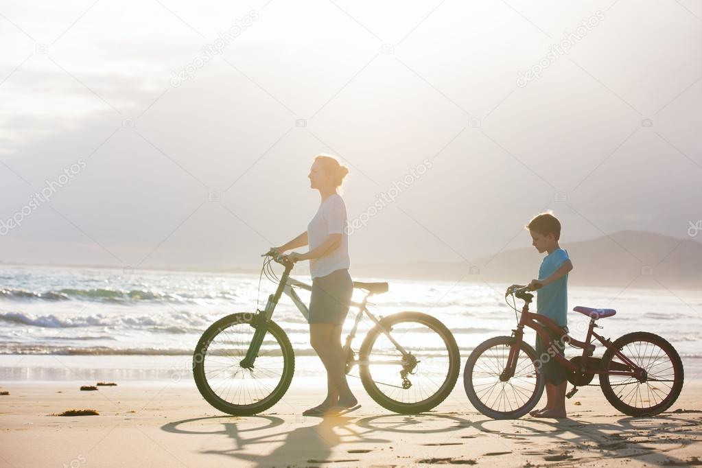 Mother and son with bikes