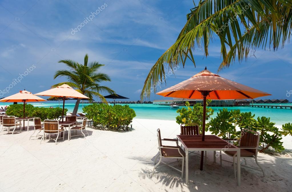 Tables at beach restaurant